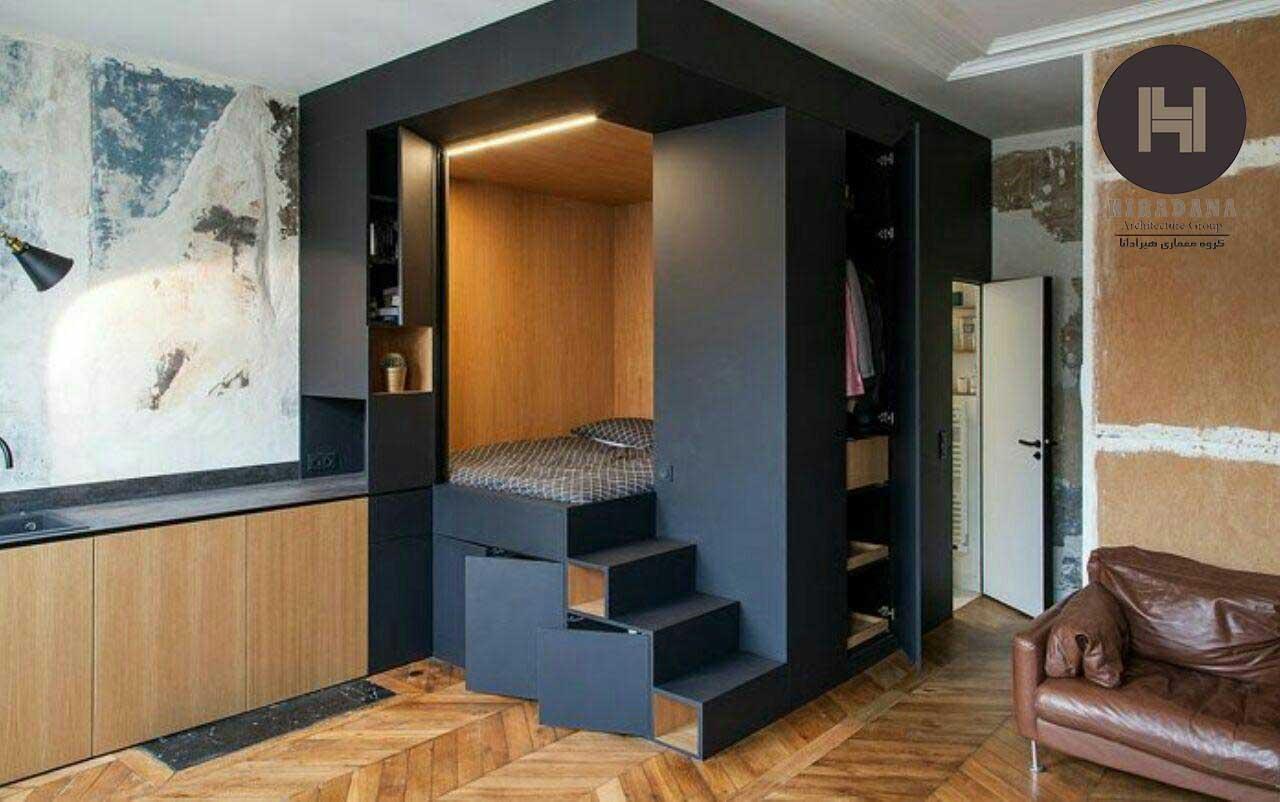 طراحی داخلی استودیو آپارتمان