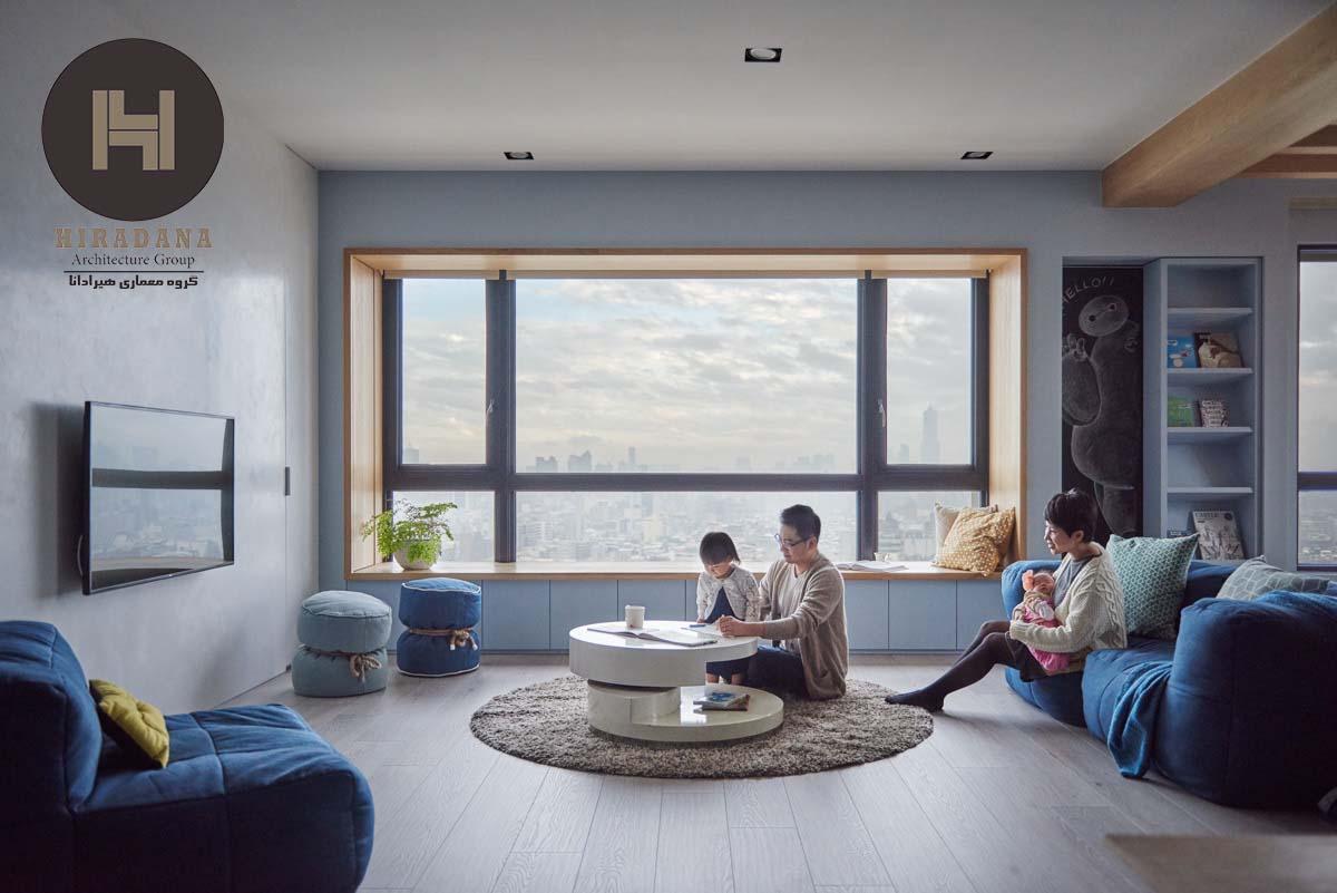 بازسازی منزل با رنگ آبی و چوب