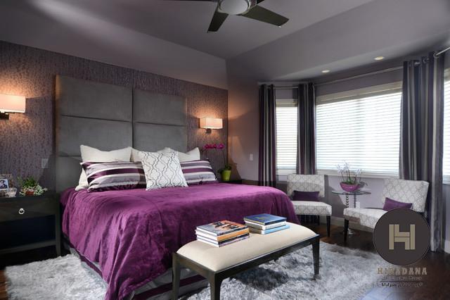 طراحی داخلی اتاق خواب با استفاده از رنگ های سفید و بنفش