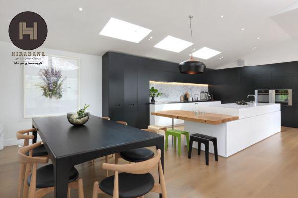 ایده هایی برای طراحی جزیره آشپزخانه با رنگ های خنثی