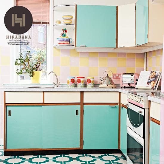 طراحی دکوراسیون آشپزخانه به سبک رترو
