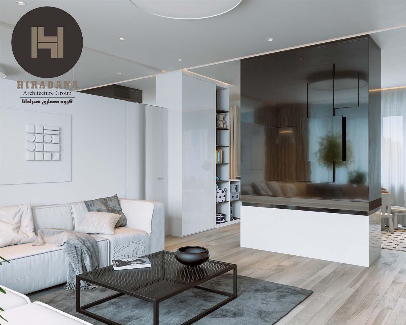طراحی دکوراسیون داخلی لوکس با رنگ سفید و مشکی