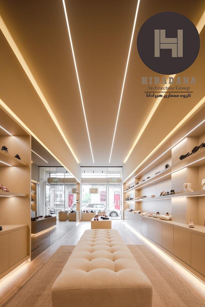 طراحی دکوراسیون لوکس فروشگاه کفش