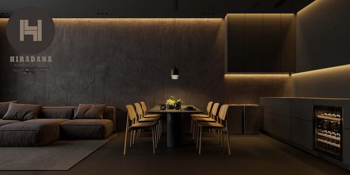 طراحی دکوراسیون داخلی با رنگ های تیره و ایده های نورپردازی
