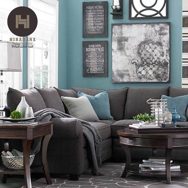 طراحی داخلی فضای پذیرایی با ترکیب رنگ طوسی و خنثی