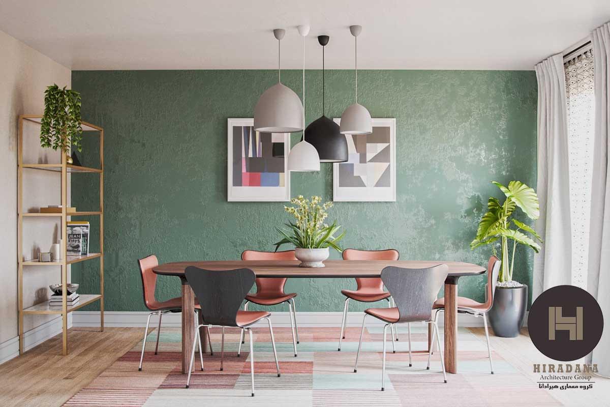 ایده های طراحی فضای غذاخوری با پالت رنگی سبز