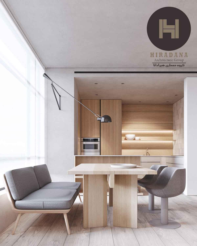 طراحی و دکوراسیون داخلی لوکس و مدرن با متریال چوب و رنگ سفید