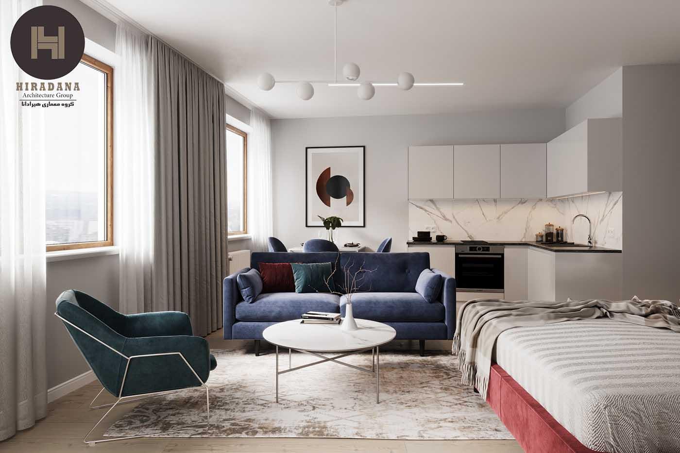 طراحی دکوراسیون داخلی مدرن با پالت رنگی آبی و قرمز