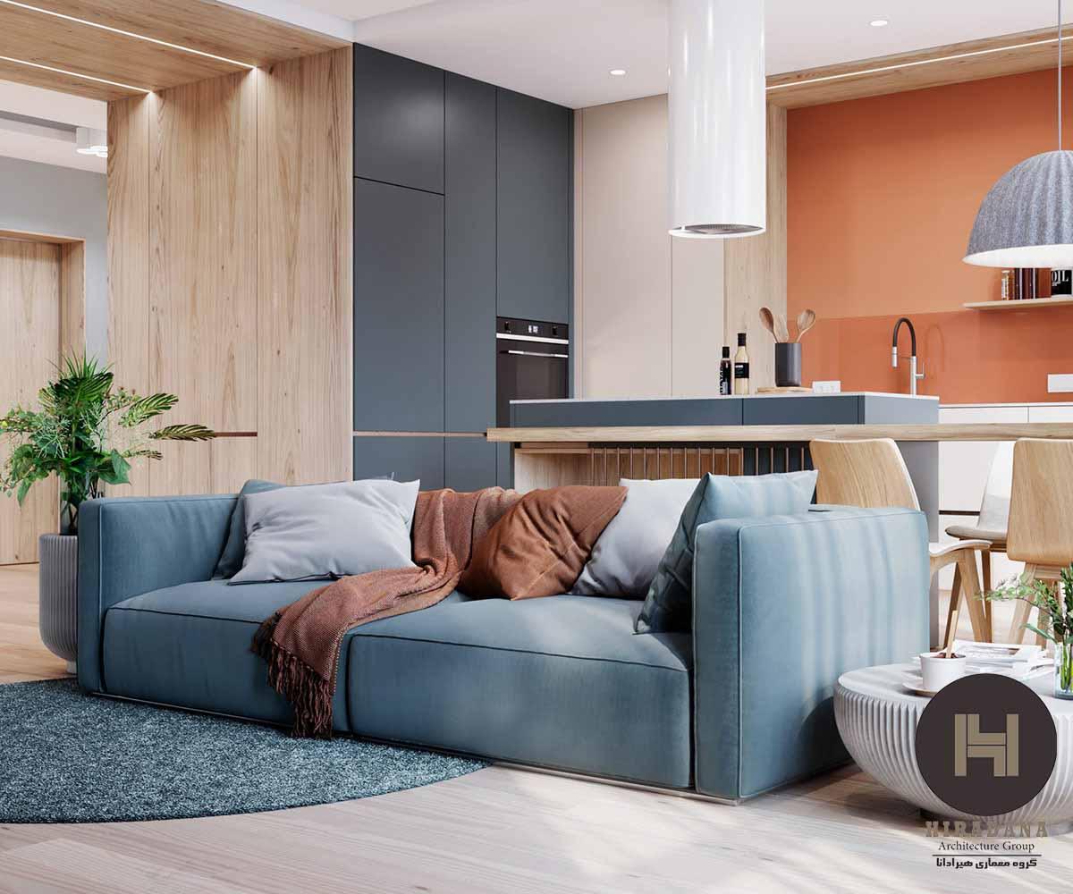 طراحی دکوراسیون داخلی خانه با استفاده از رنگ های نارنجی و آبی