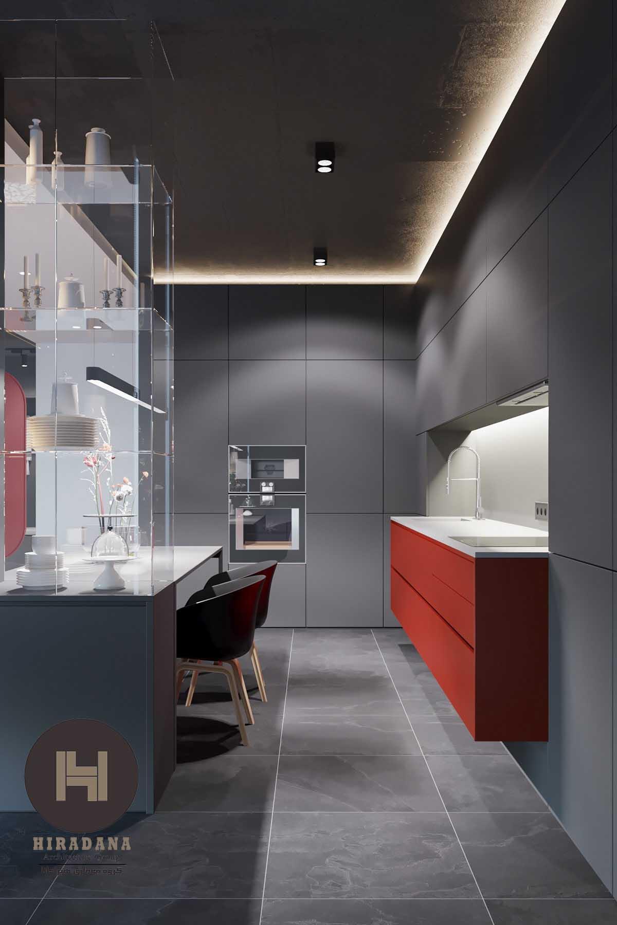 طراحی دکوراسیون داخلی مدرن با رنگ های قرمز و خاکستری
