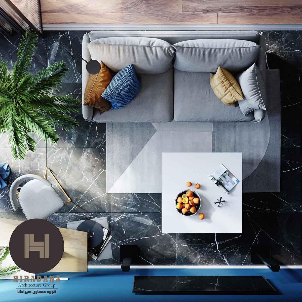 طراحی داخلی خانه با پالت رنگ آبی و خاکستری روشن