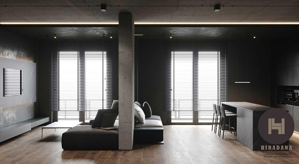 طراحی دکوراسیون داخلی مدرن با پالت رنگی تیره