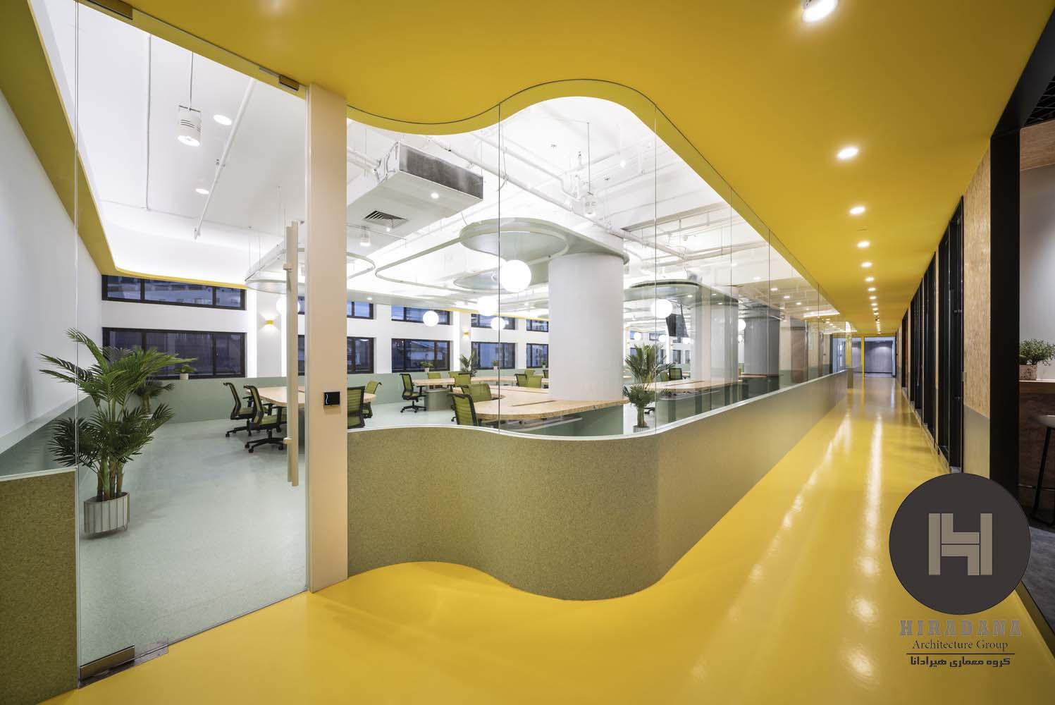طراحی دکوراسیون اداری با رنگ زرد