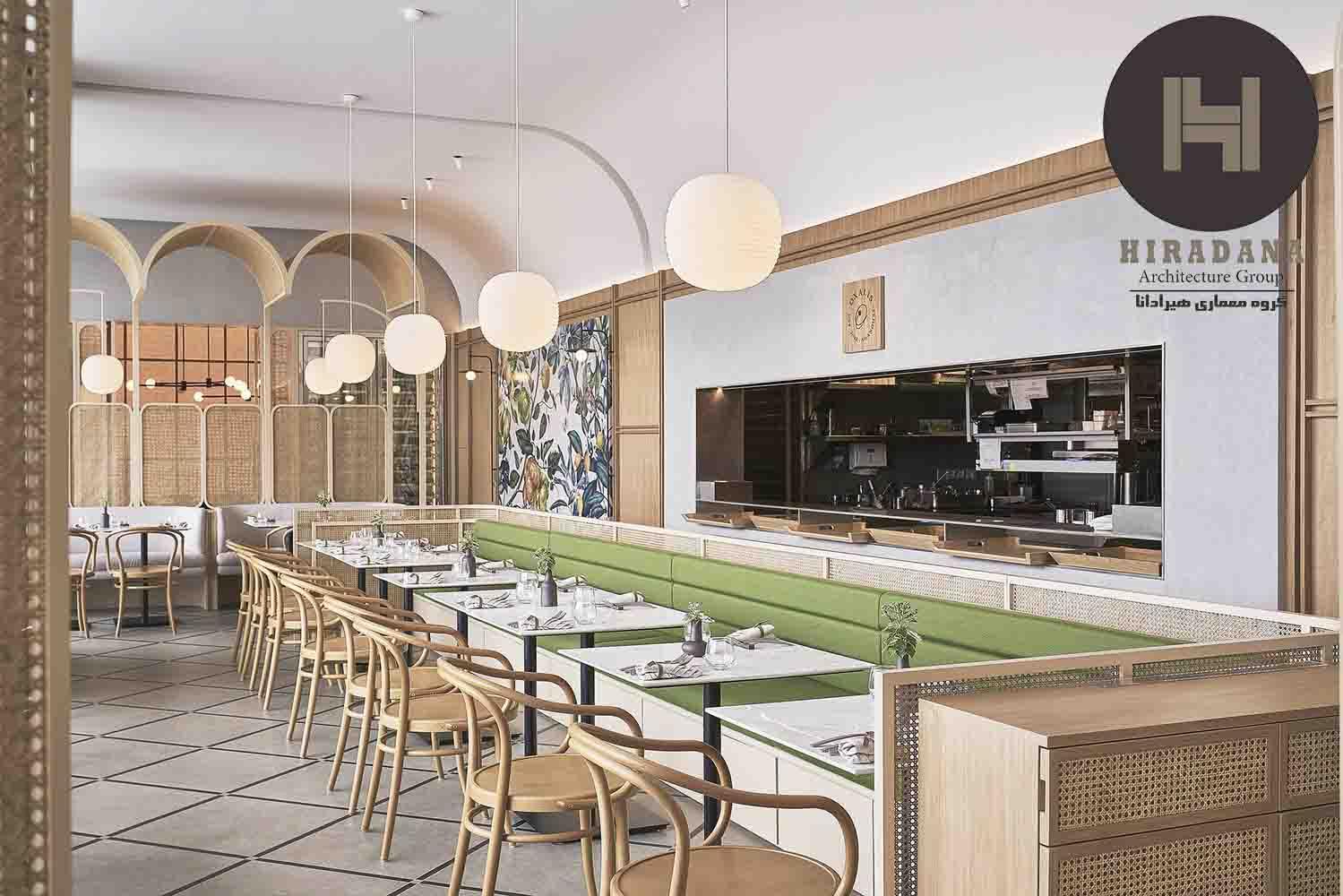 طراحی دکوراسیون داخلی رستوران سبز