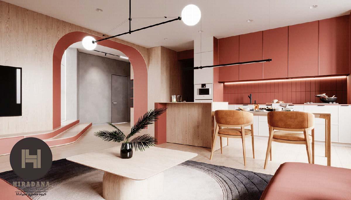 طراحی دکوراسیون داخلی مدرن با رنگ های تند