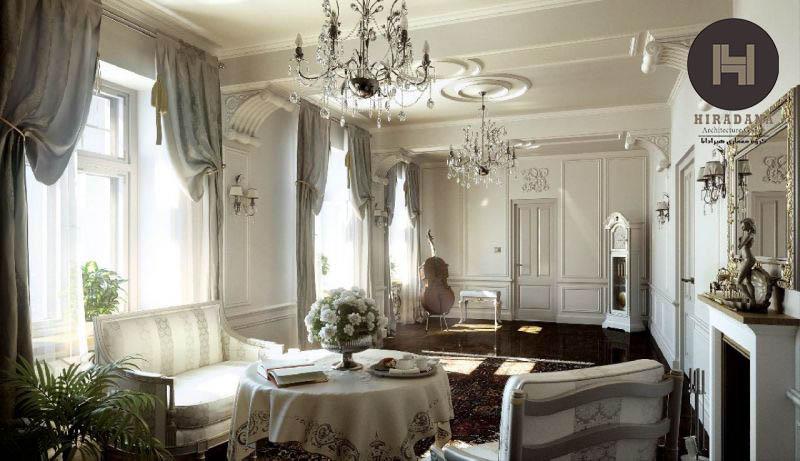 طراحی داخلی اتاق نشیمن به سبک کلاسیک