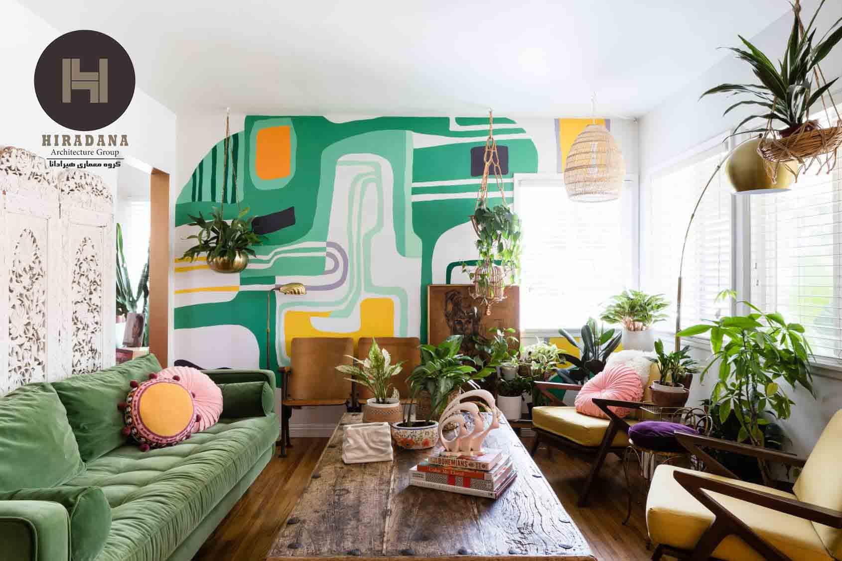 ایده های طراحی دکوراسیون نشیمن با رنگ سبز