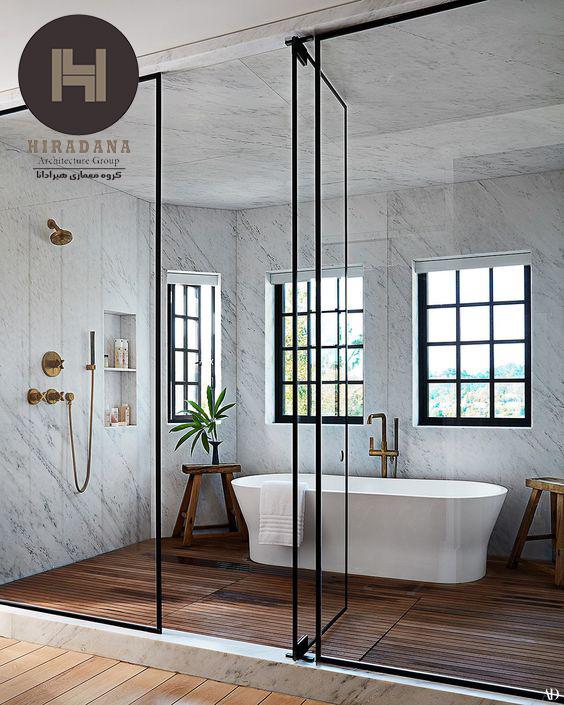 دکوراسیون لوکس حمام با استفاده از سنگ مرمر