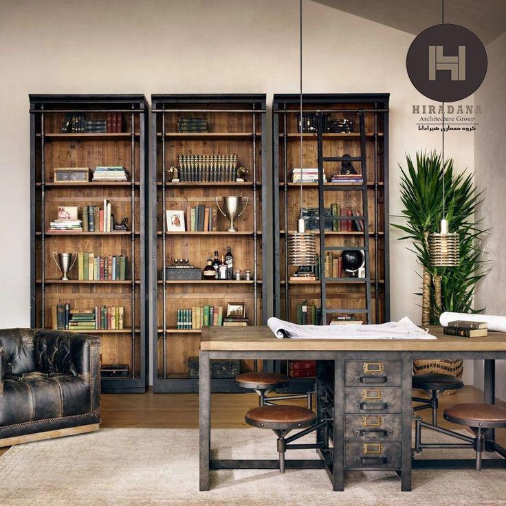 طراحی داخلی اداری به سبک روستیک