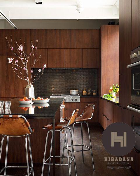 دکوراسیون آشپزخانه قهوه ای