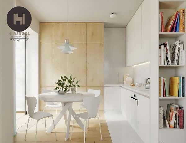 طراحی داخلی منزل با چوب طبیعی و رنگ سفید